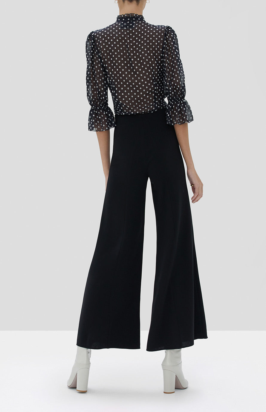 Alexis Calixte Top in Black Embroidered Dot and Ashden Pant in Black from the Fall Winter 2019 Ready To Wear Collection - Rear View