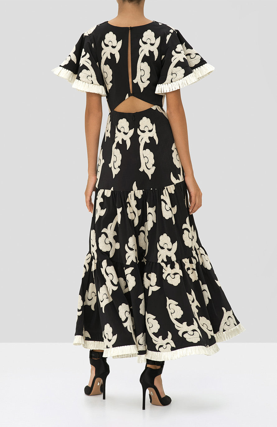 Alexis Calusa Dress in Black Embroidered Damask from the Holiday 2019 Ready To Wear Collection - Rear View