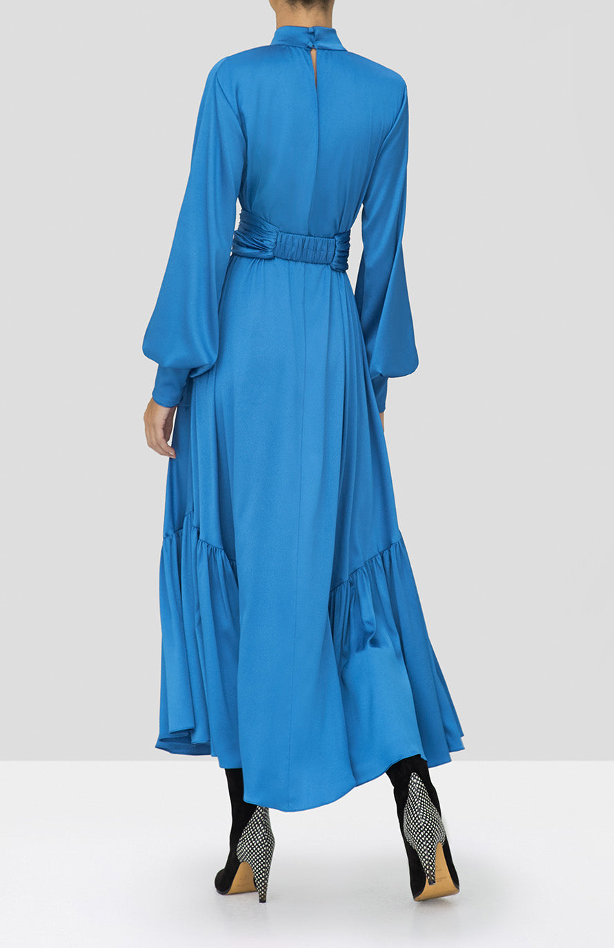 Alexis Calypsa Dress in Azure Blue from the Holiday 2019 Ready To Wear Collection - Rear View
