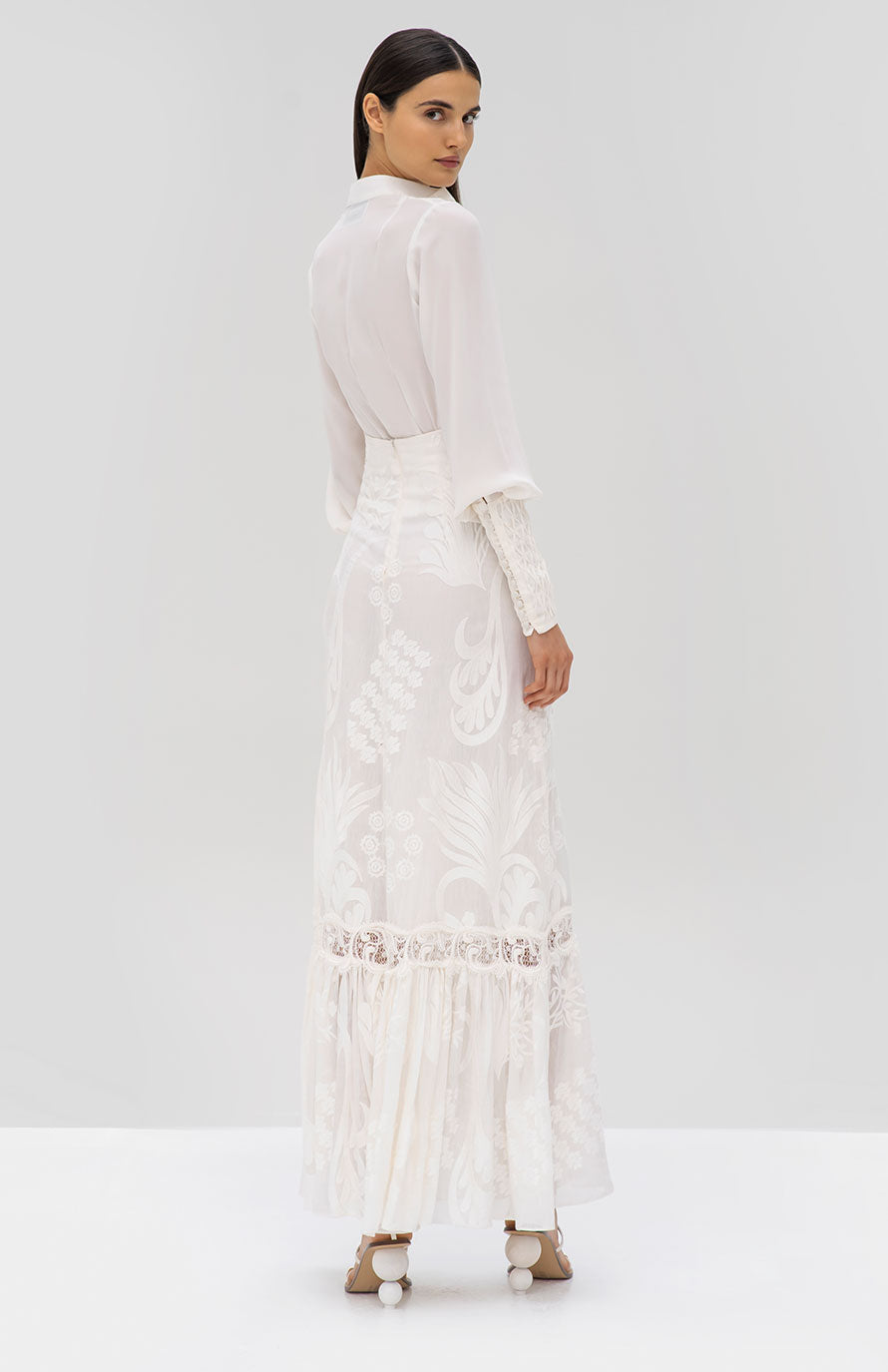 Alexis Capizzi Top and Guiliana Skirt White - Rear View