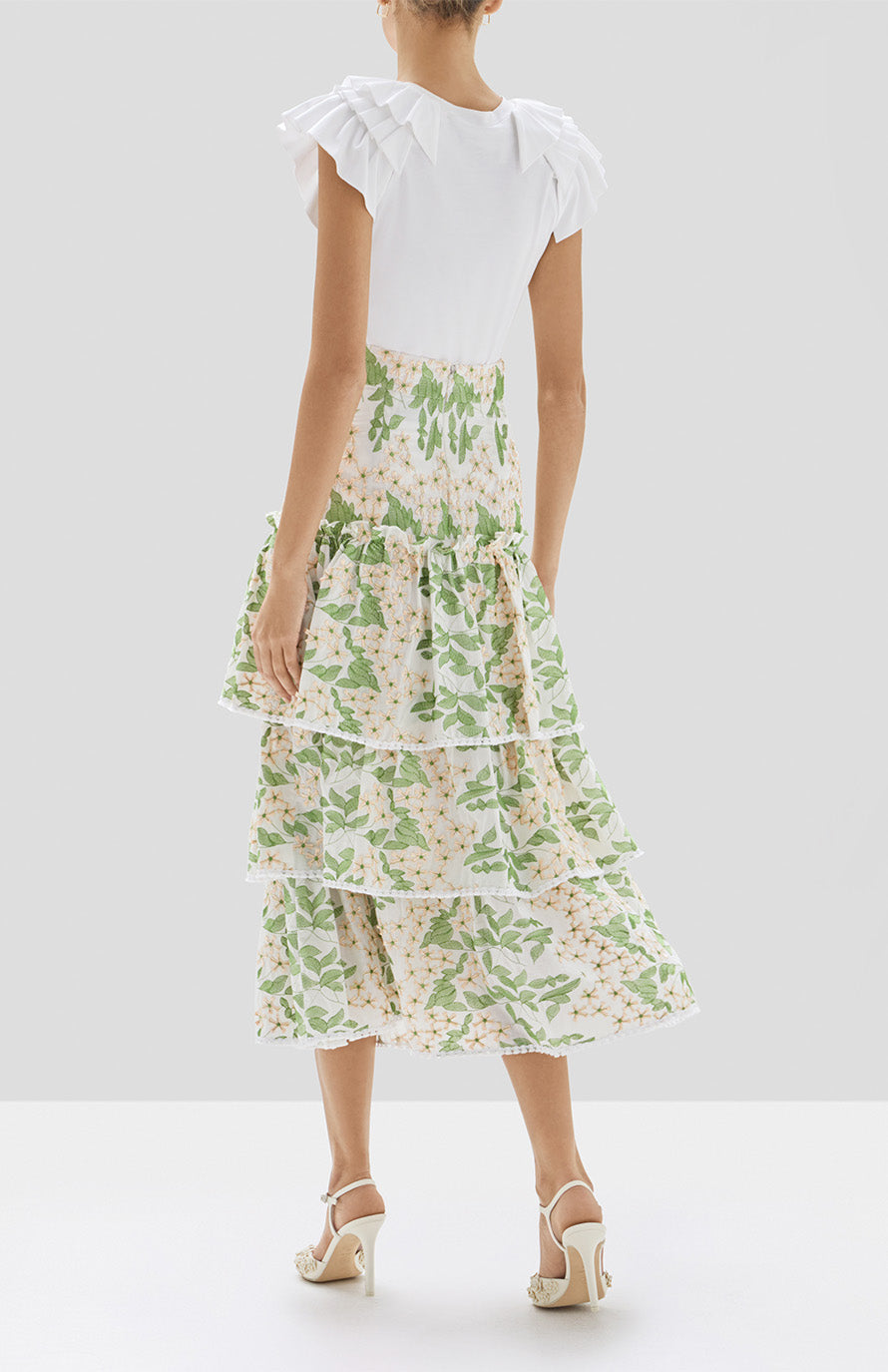 Alexis Cassis Top in White and Aditya Skirt in Green Embroidery from the Pre Spring 2020 Collection - Rear View