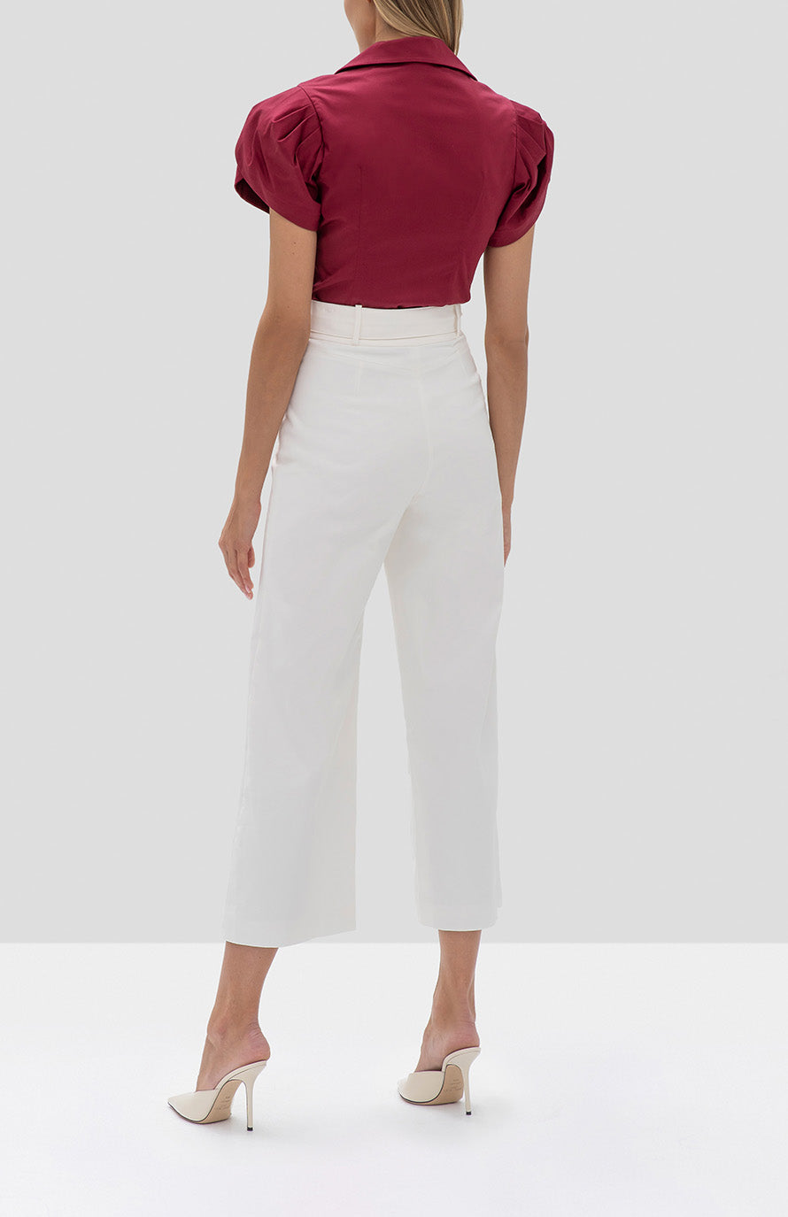 Alexis Cass Top in Rasberry from the Fall Winter 2019 Ready To Wear Collection and Everette Pant in White from the Spring Summer 2019 Ready To Wear Collection - Rear View