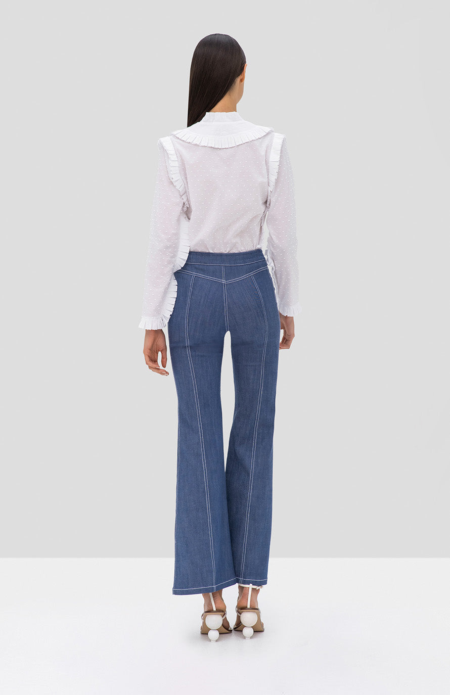 Alexis Claremont Pant in Stone Blue and Burgos Top in White from the Pre Fall 2019 Ready To Wear Collection - Rear View