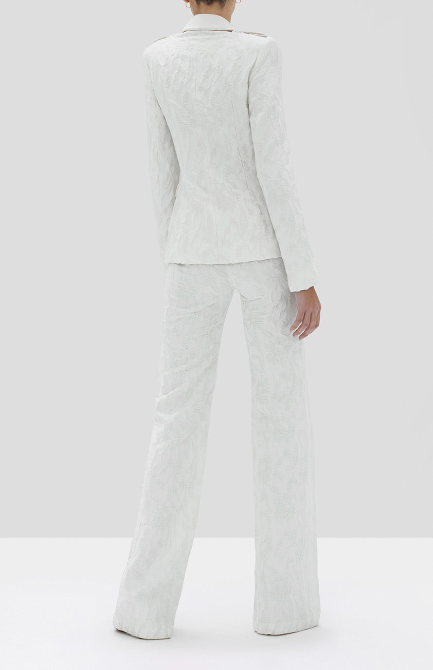 Alexis Claudya Jacket and Bouras Pant in White Floral Jacquard from the Fall Winter 2019 Ready To Wear Collection - Rear View