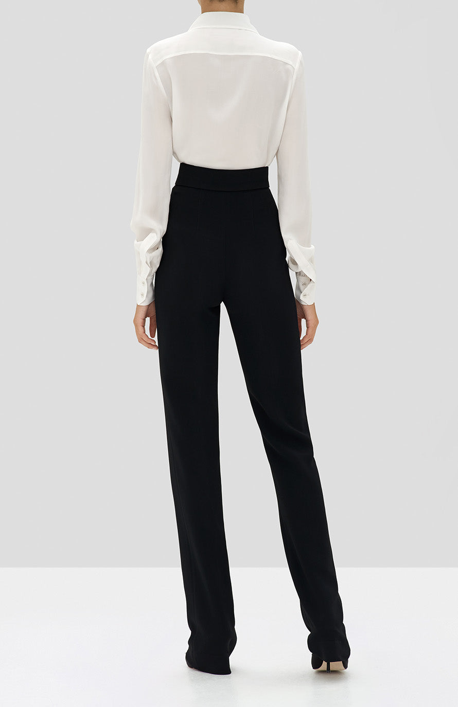 Alexis Crawford Top in Off White and Lofton Pant in Black from the Holiday 2019 Ready To Wear Collection - Rear View