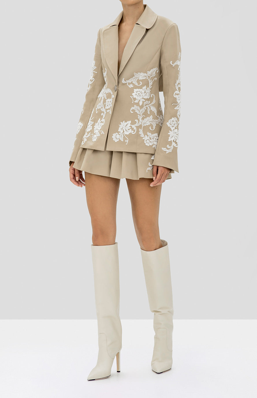 Alexis Cyrano Jacket and Gerona Shorts in Tan from the Holiday 2019 Ready To Wear Collection - Rear View