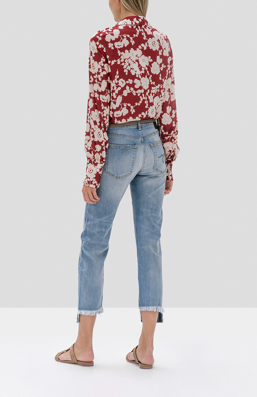 Alexis Daina Top in Maroon Poppy from the Fall Winter 2019 Ready To Wear Collection - Rear View