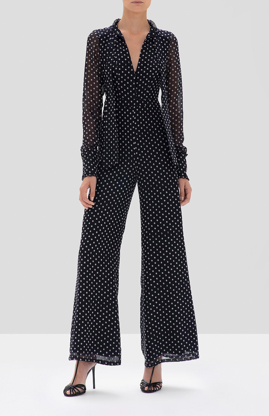 Alexis Davinia Jumpsuit in Black Embroidered Dot from the Fall Winter 2019 Ready To Wear Collection - Rear View