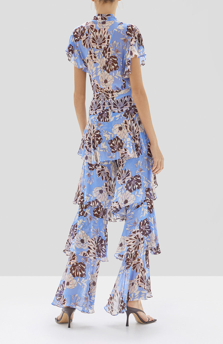 Alexis Elyria Pant and Dessie Top in Blue Floral From Pre Spring 2020 - Rear View
