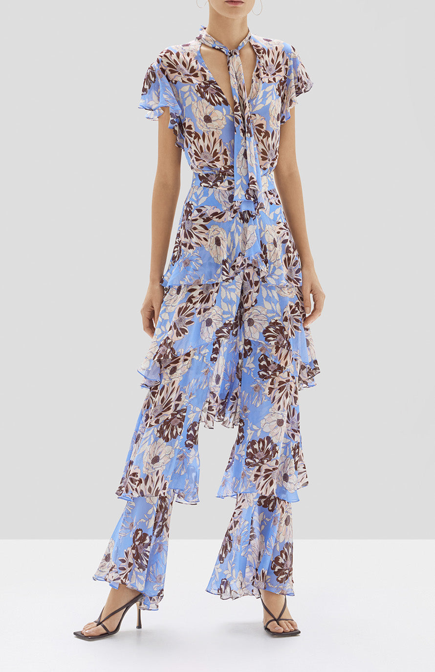 Alexis Dessie Top and Elyria Pant in Blue Floral from Pre Fall 2020 Collection - Rear View
