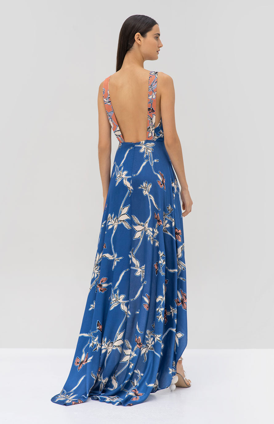 Alexis Dimerra Dress Royal Blue Orchid - Rear View