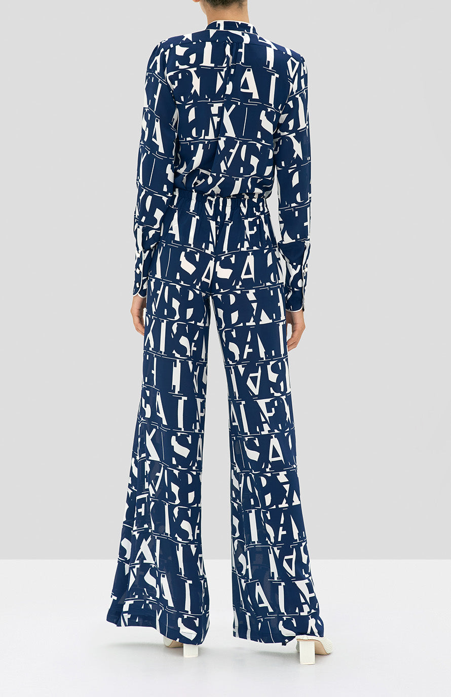 Alexis Dotson Top and Goda Pant in Navy Print from the Holiday 2019 Ready To Wear Collection - Rear View