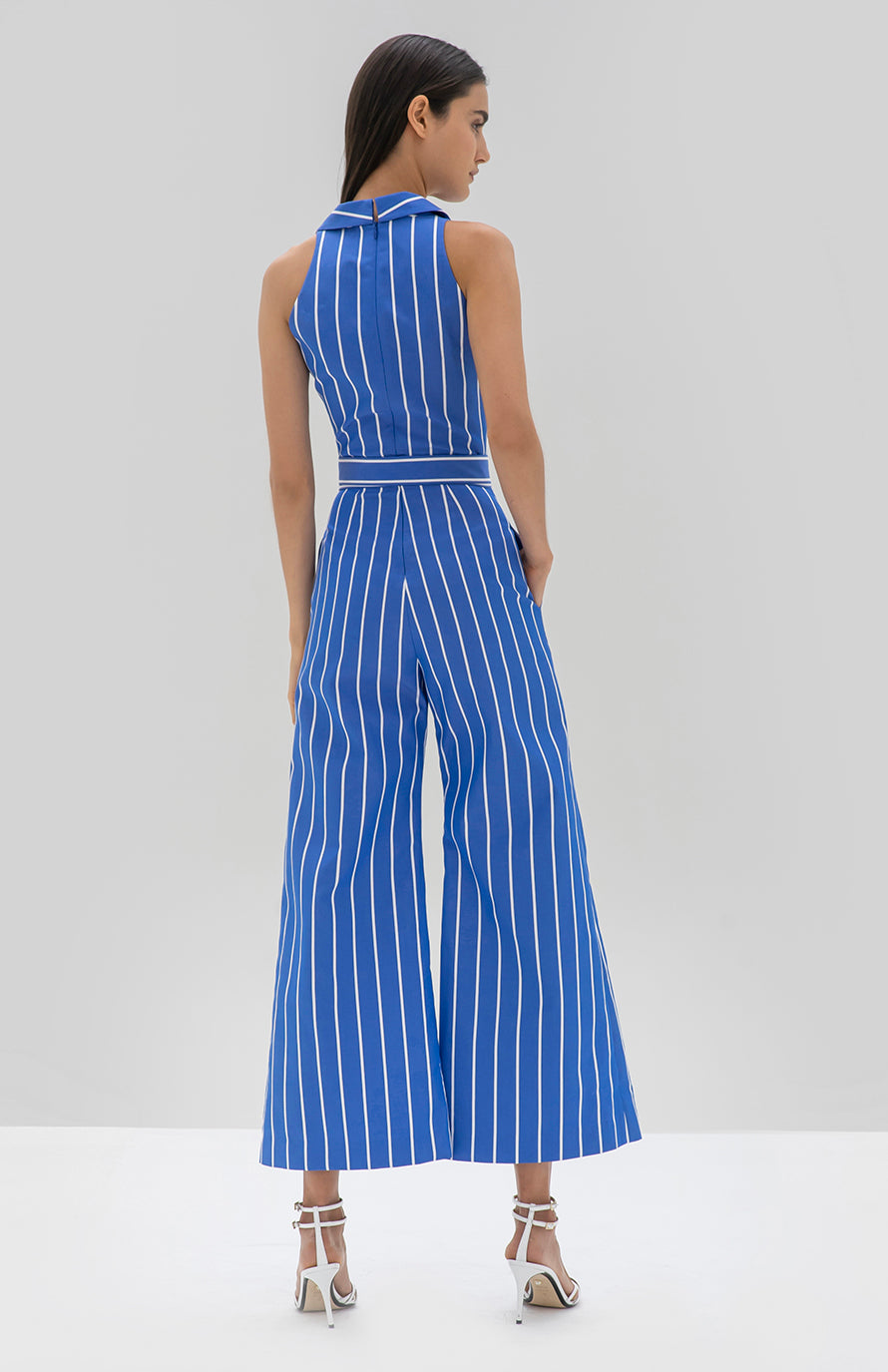 Alexis Eckhart Jumpsuit Blue Stripe - Rear View