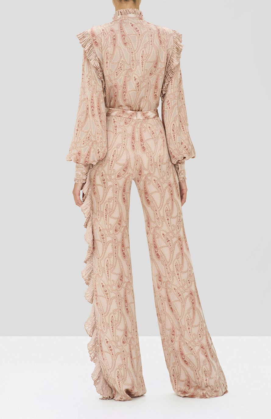 Alexis Eline Top and Izami Pant in Blush Paisley from the Holiday 2019 Ready To Wear Collection - Rear View