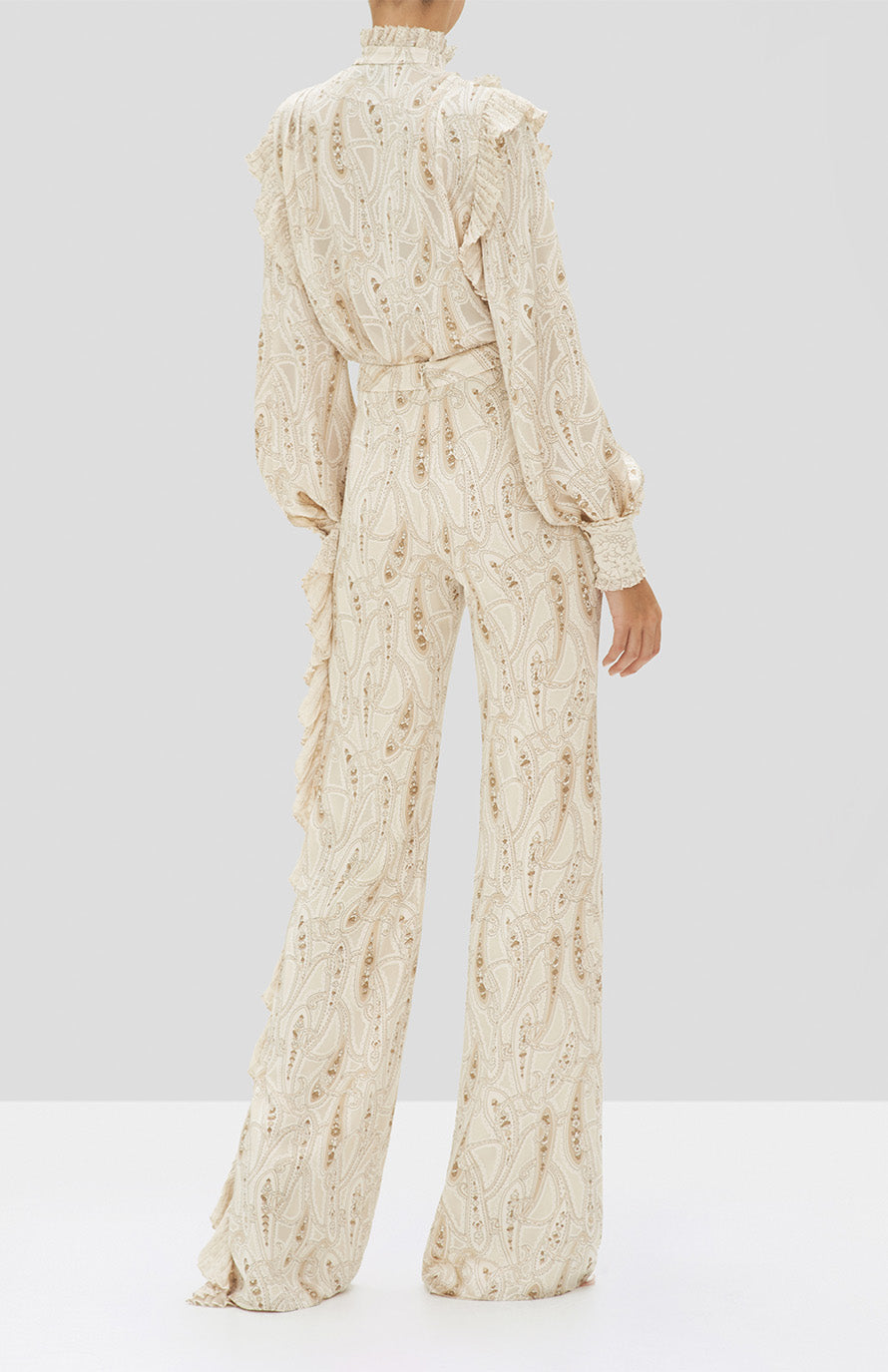 Alexis Eline Top and Izami Pant in Cream Paisley from the Holiday 2019 Ready To Wear Collection - Rear View