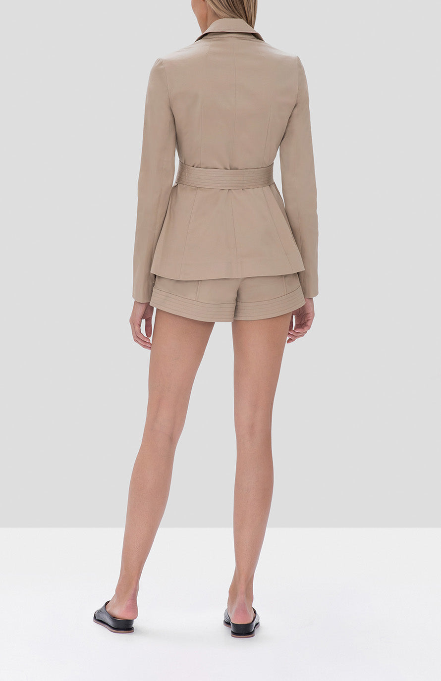 Alexis Elka Jacket and Winnick Shorts in Tan from the Fall Winter 2019 Ready To Wear Collection - Rear View