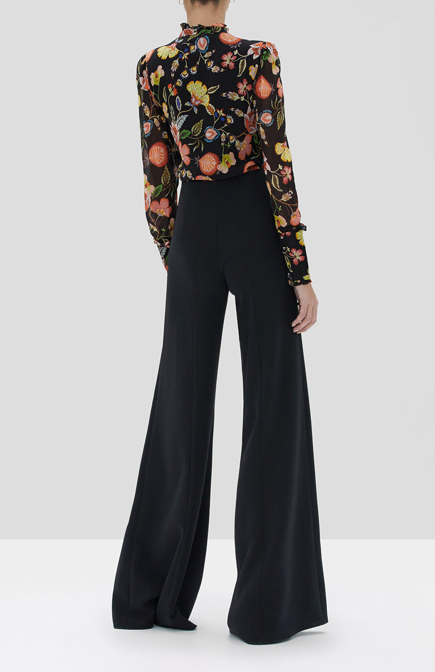Alexis Elodie Top in Black Nouveau and Irvine Pant Black from the Fall Winter 2019 Ready To Wear Collection - Rear View