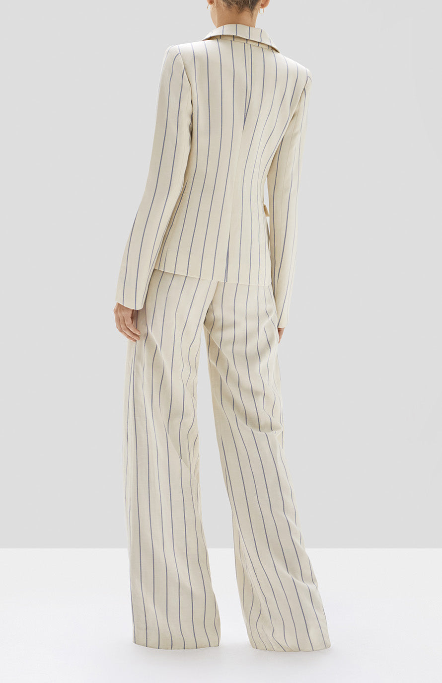 Alexis Enos Jacket and Dixon Pant in Blue Stripes from Pre Spring 2020 Collection - Rear View
