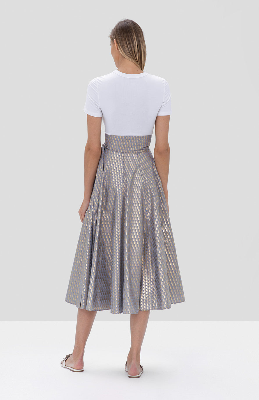 Eugenie Skirt Blue Gold Soli top white - Rear View