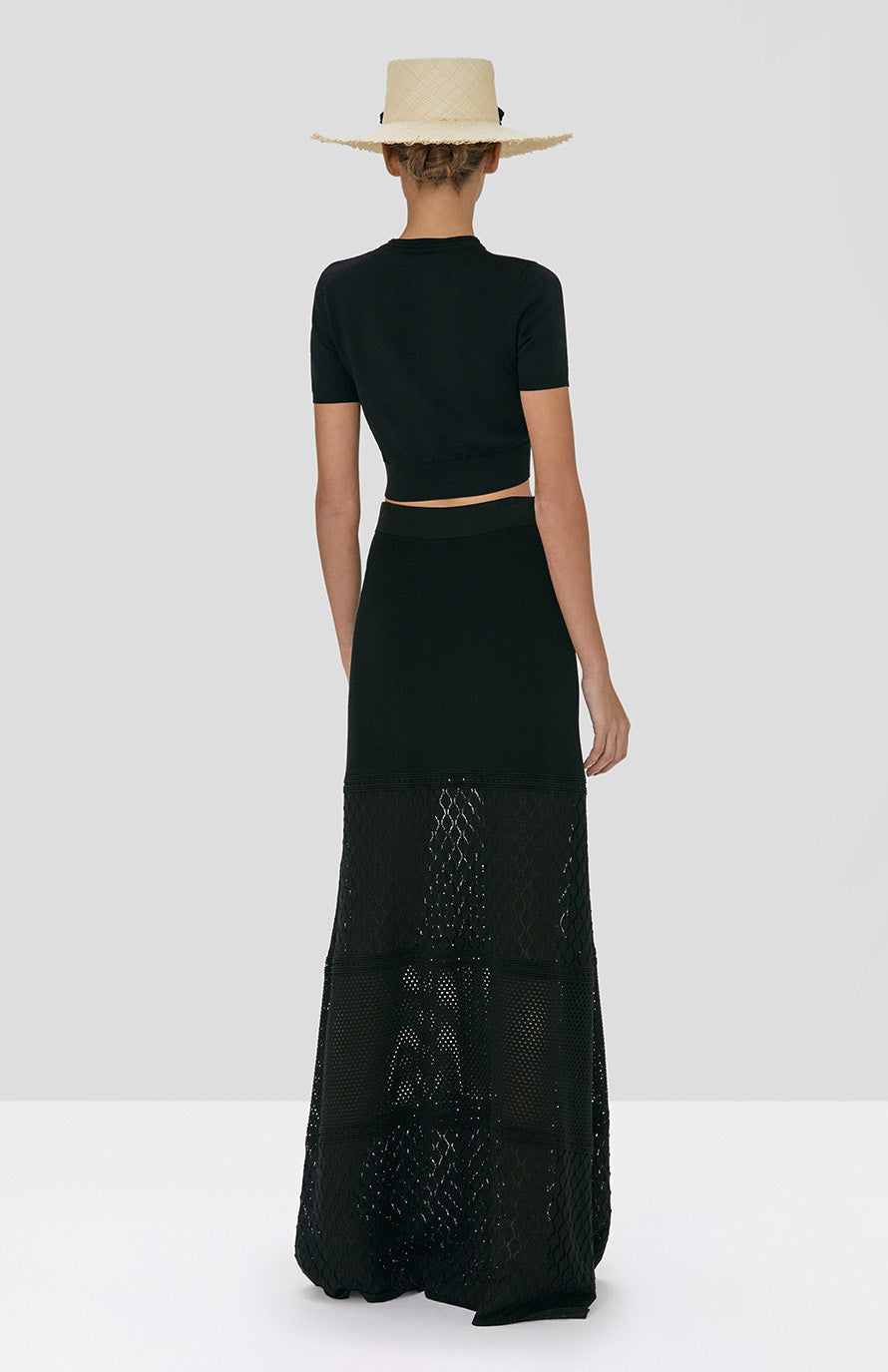 Alexis Finzi Crop Top and Ecco Skirt in Black from the Spring Summer 2020 Collection  - Rear View