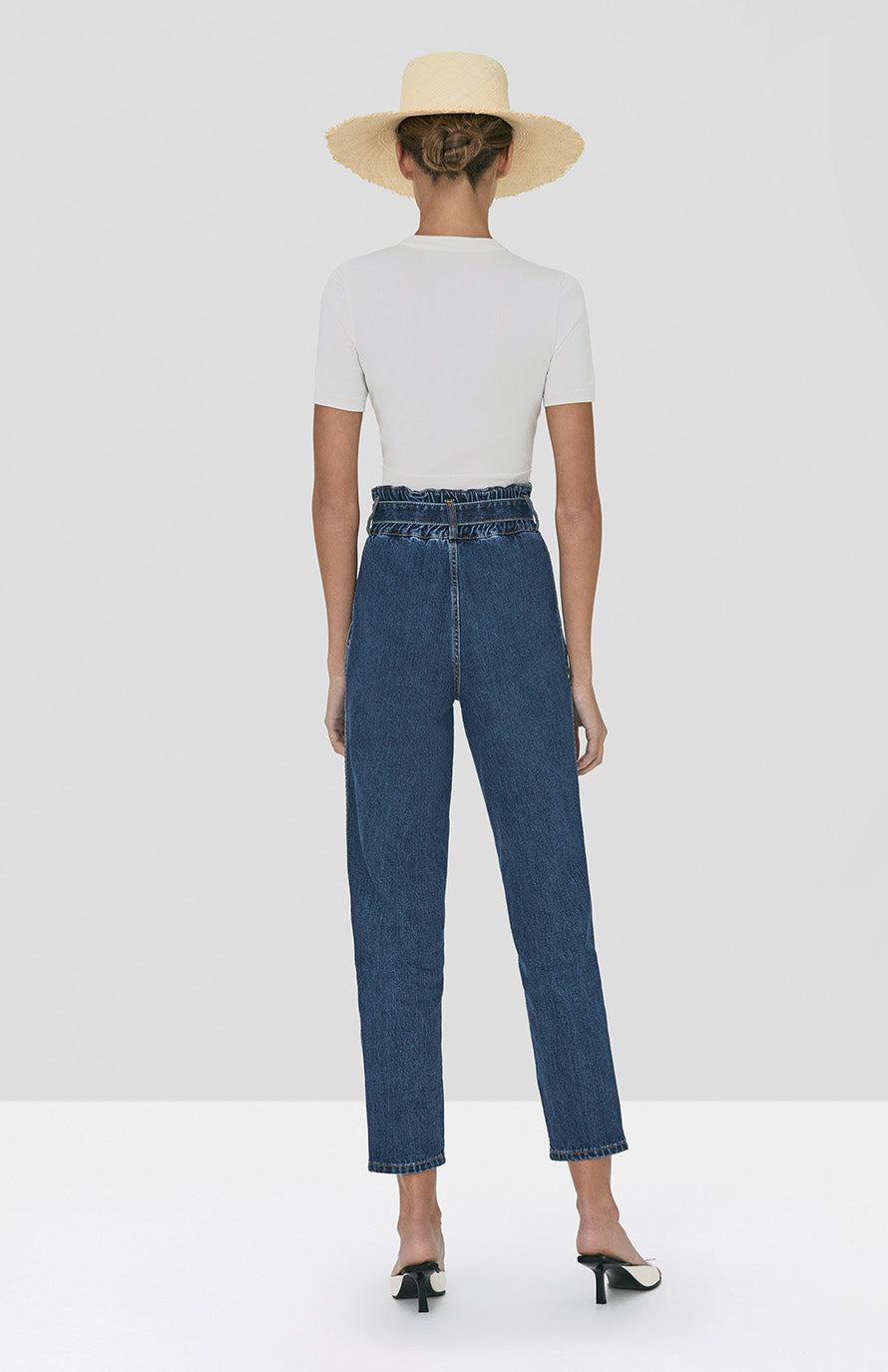 Alexis Finzi Crop Top in White and Stannis Denim Pant in Washed Denim from Spring Summer 2020 - Rear View