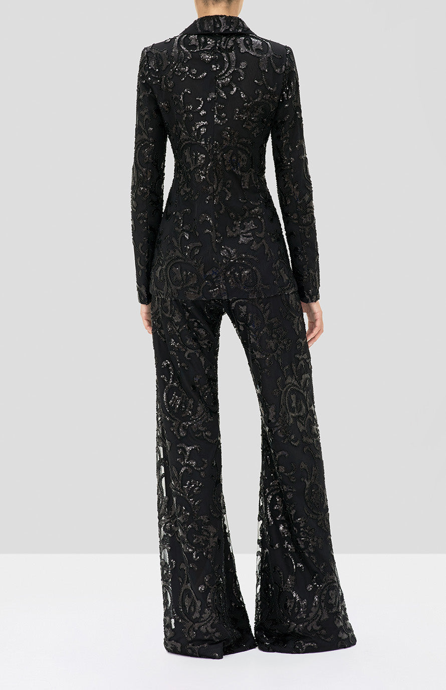 Alexis Silvestro Pant and Firdas Jacket in Beaded Black from the Holiday 2019 Collection - Rear View