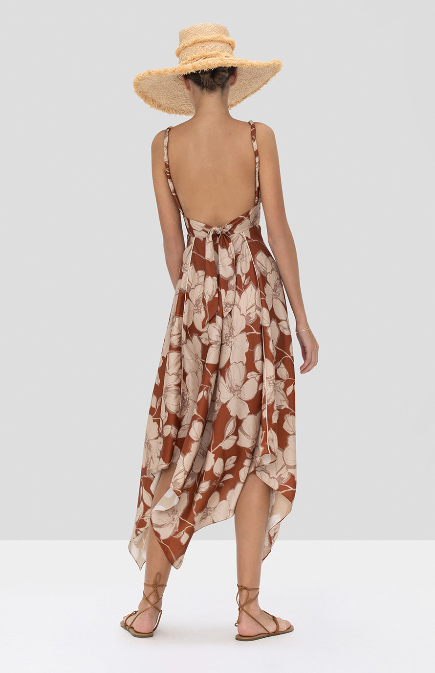 Alexis Gaiana Dress in Sand Floral from the Spring Summer 2020 Collection - Rear View