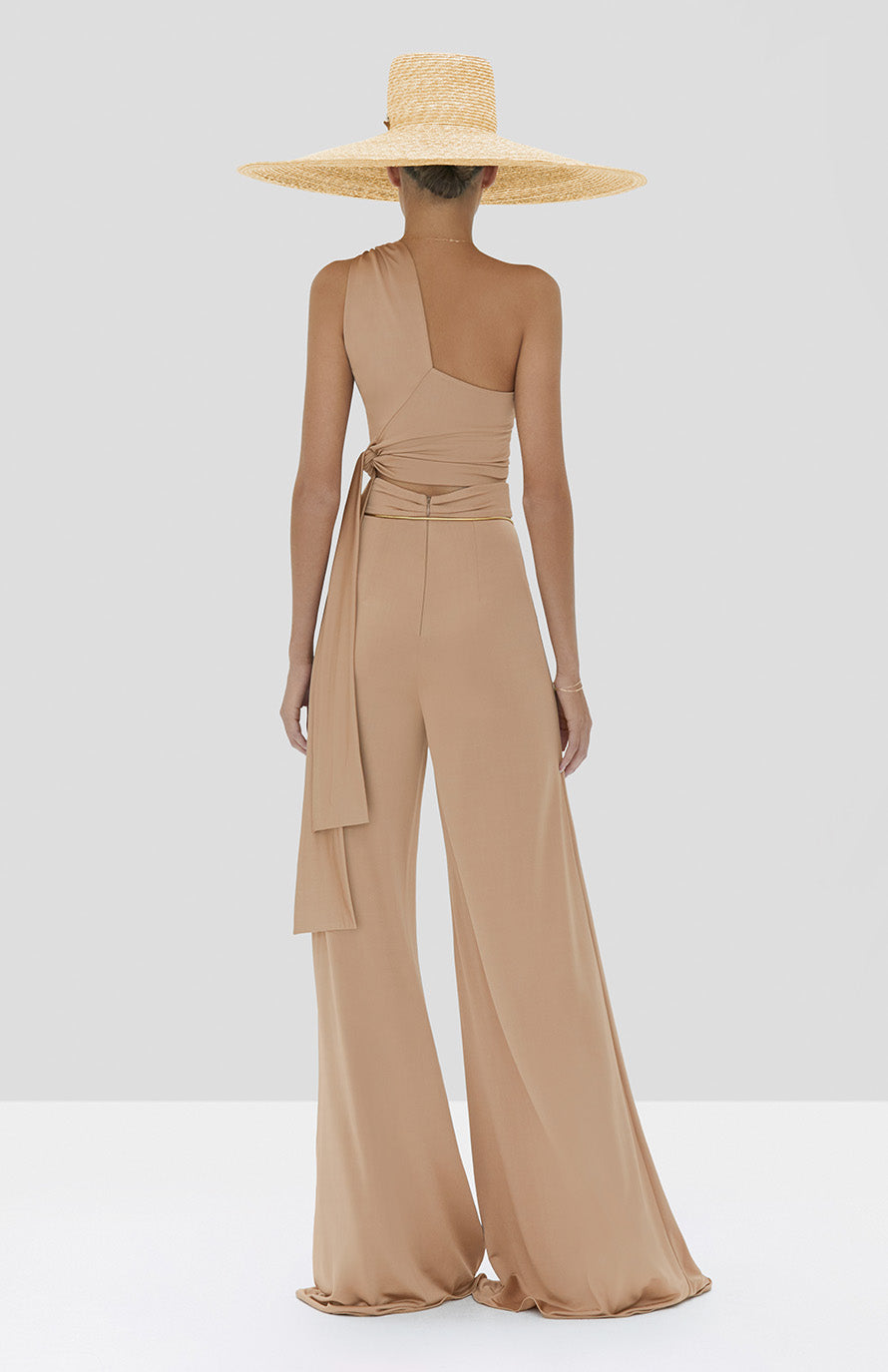 Alexis Gwen Top and Camilo Pant in Tan from the Spring Summer 2020 Collection - Rear View