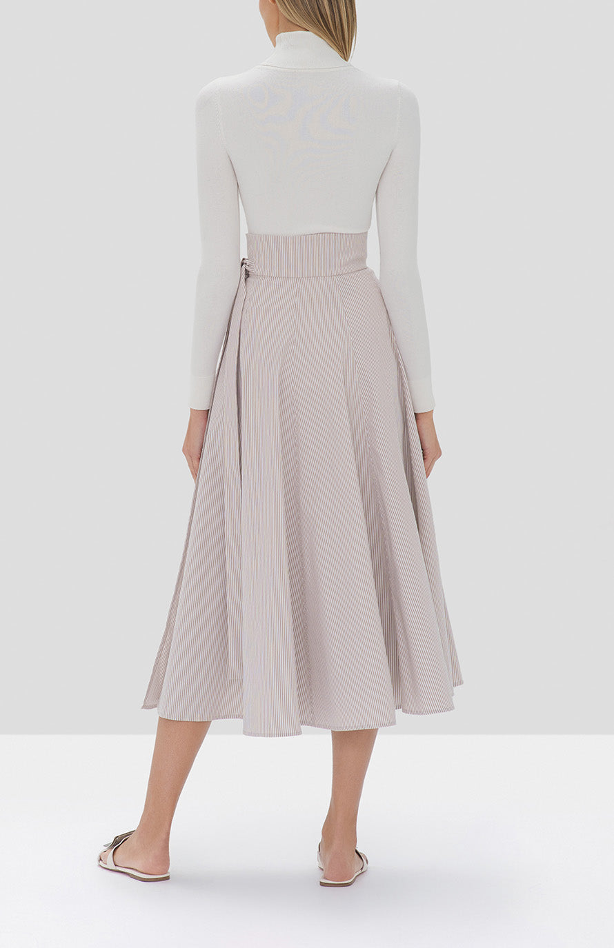 Alexis Ikram Skirt in Textured Tan Stripes and Jaiko Turtleneck Top in White from the Fall Winter 2019 Ready To Wear Collection - Rear View