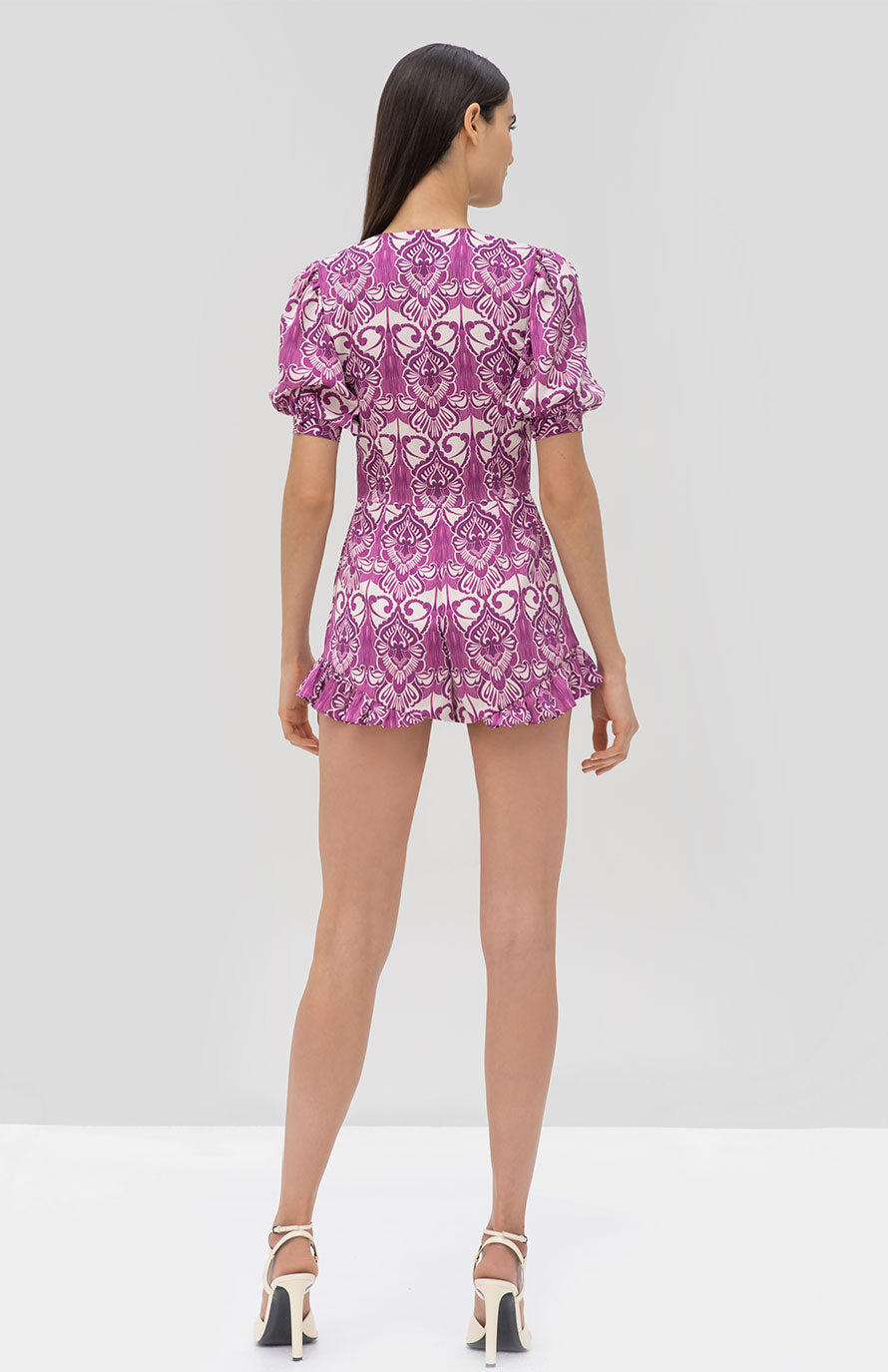 Alexis Indira Romper in Mulberry Palm - Rear View