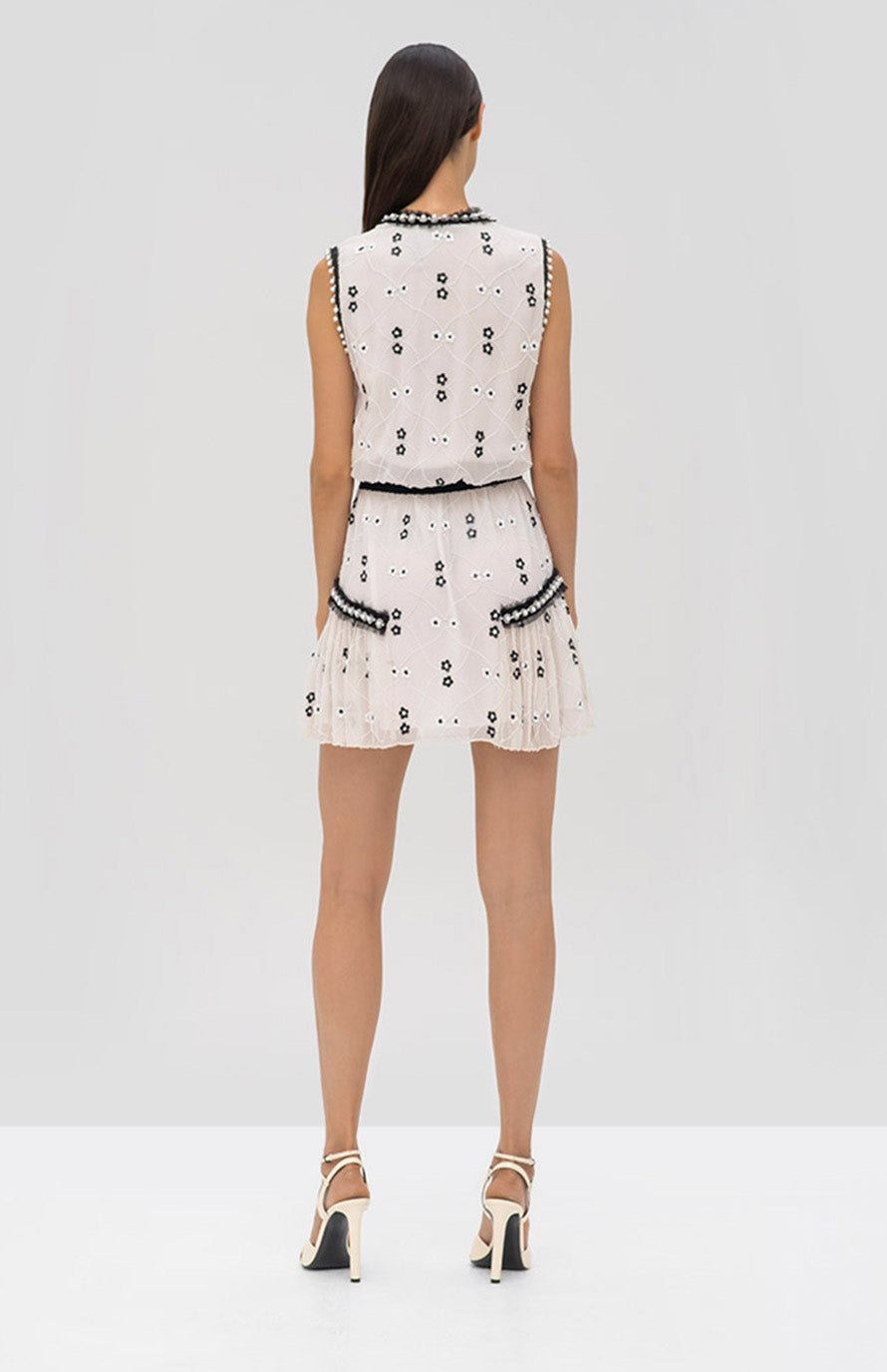 Alexis Isma Dress in Ivory Beaded Floral - Rear View