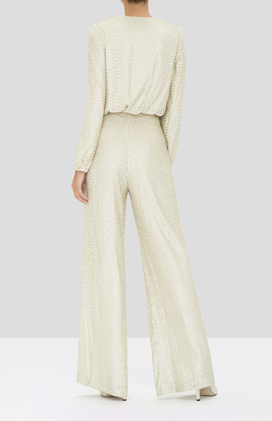 Alexis Ismet Jumpsuit in Ivory from the Holiday 2019 Ready To Wear Collection - Rear View