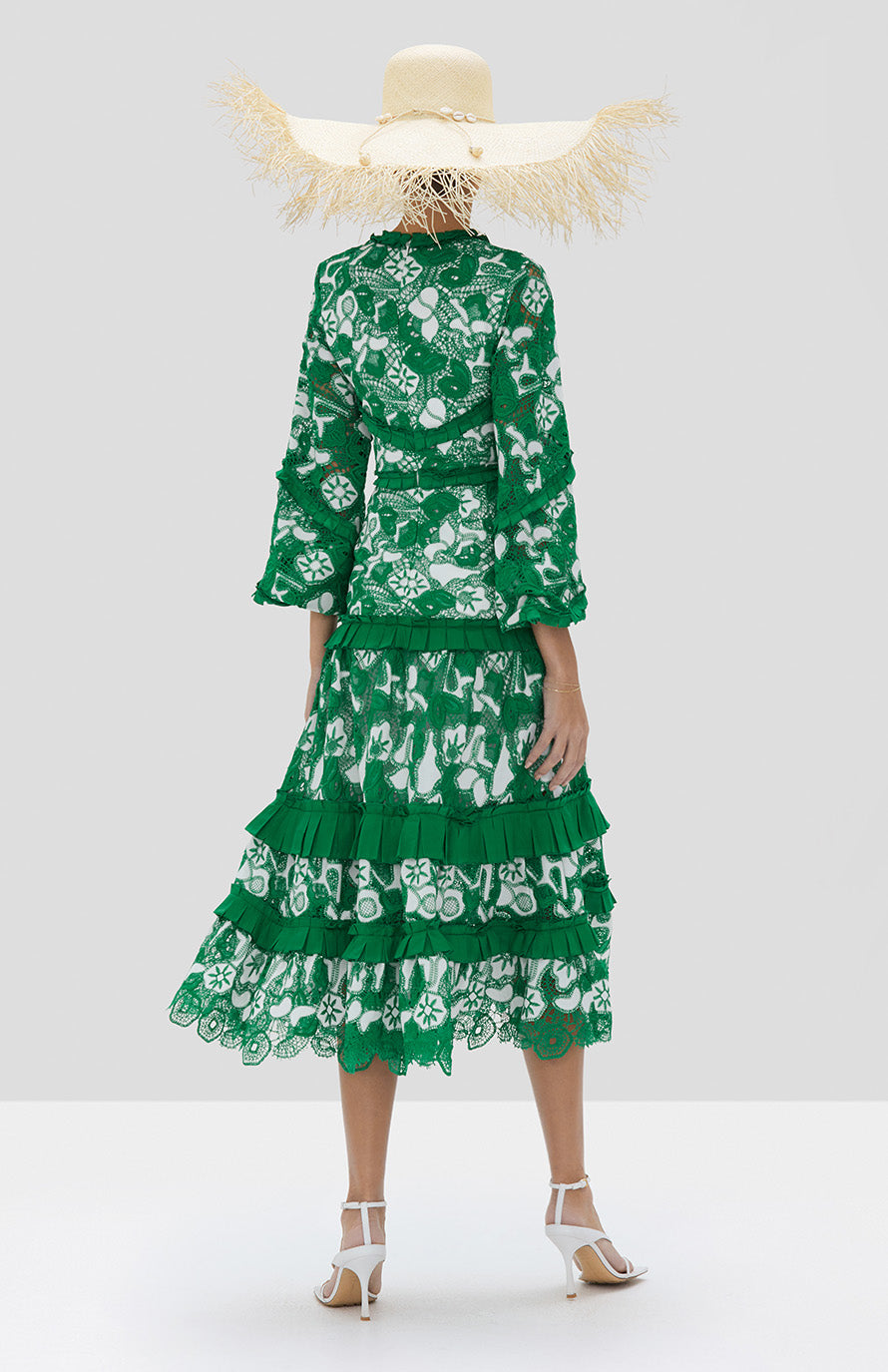 Alexis Jatta Dress in Emerald Embroidered Lace from Spring Summer 2020 Collection - Rear View
