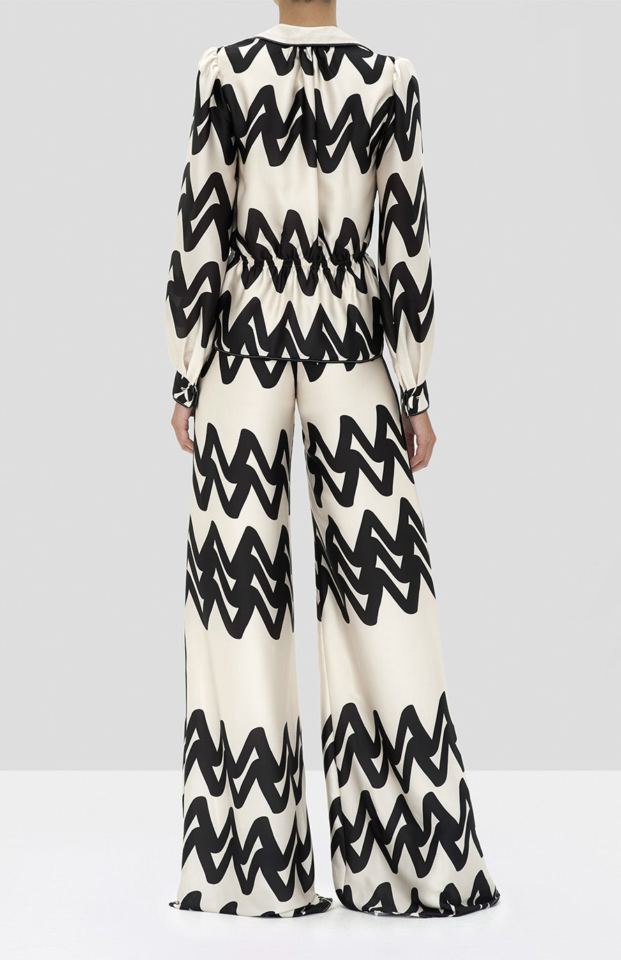 Alexis Kacey Top and Trevino Pant in Cream Abstract from the Holiday 2019 Ready To Wear Collection - Rear View