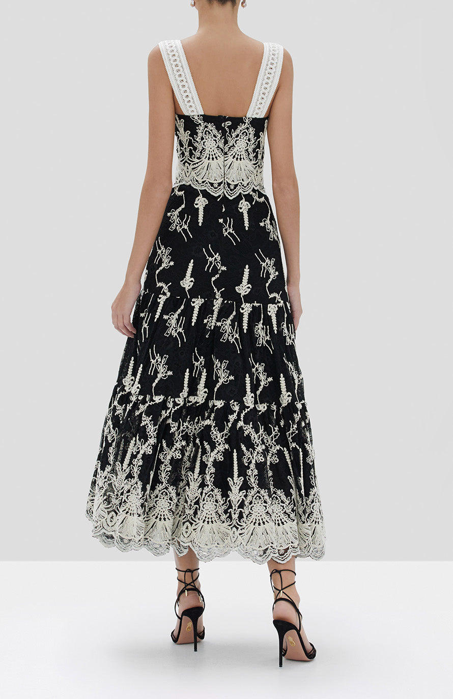 Alexis Karolina Dress in Black Embroidered Lace from the Fall Winter 2019 Ready To Wear Collection - Rear View