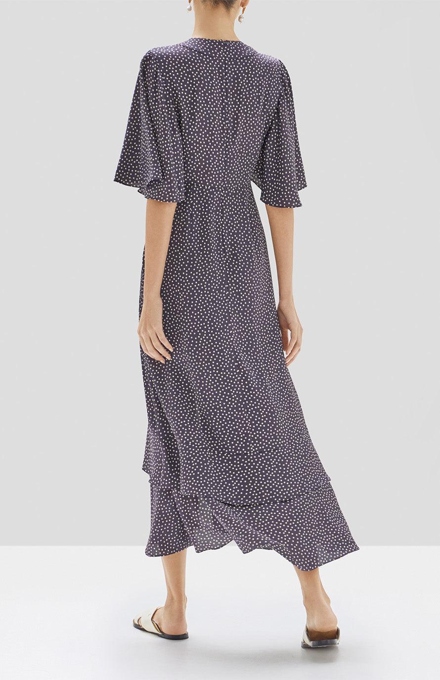 Alexis Kasany Dress in Navy and Beige Dot from the Pre Spring 2020 Collection - Rear View