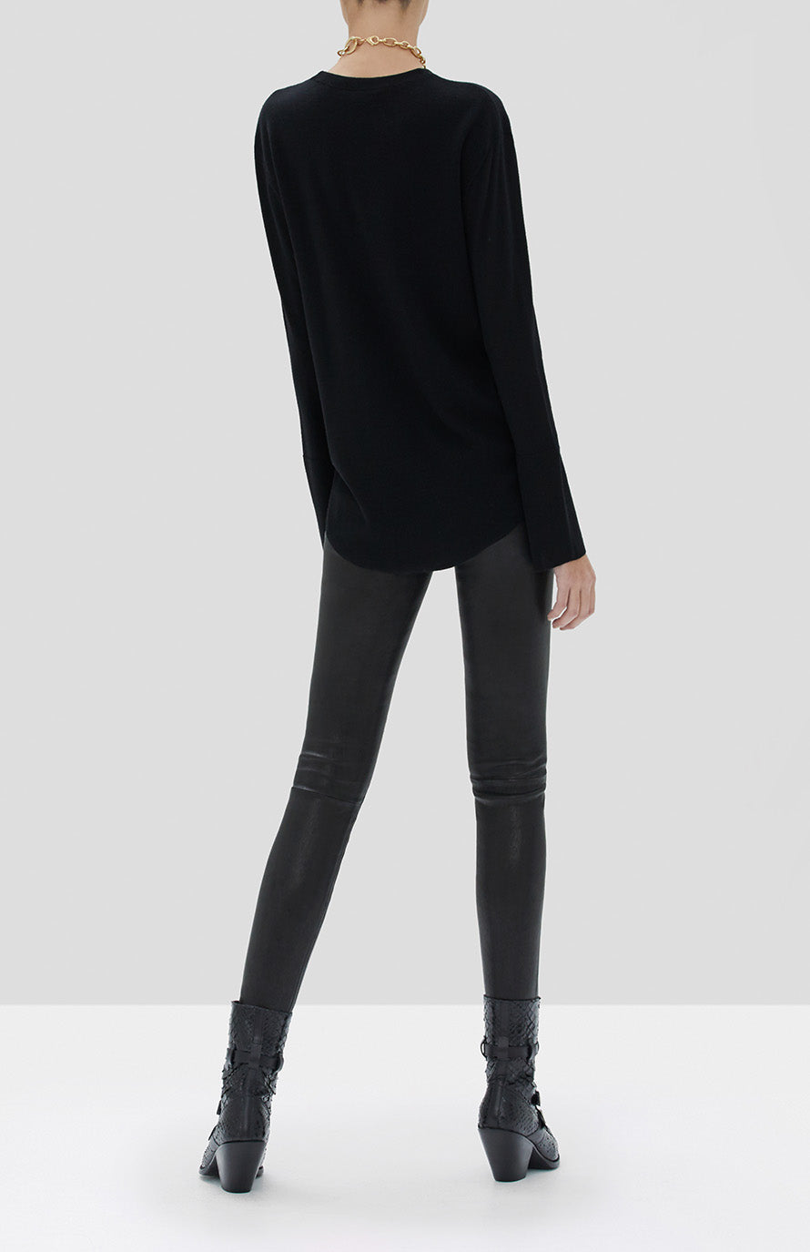 Alexis Katiana Sweater in Black and Boyd Leather Pant in Blue Black from the Fall Winter 2019 Ready To Wear Collection - Rear View