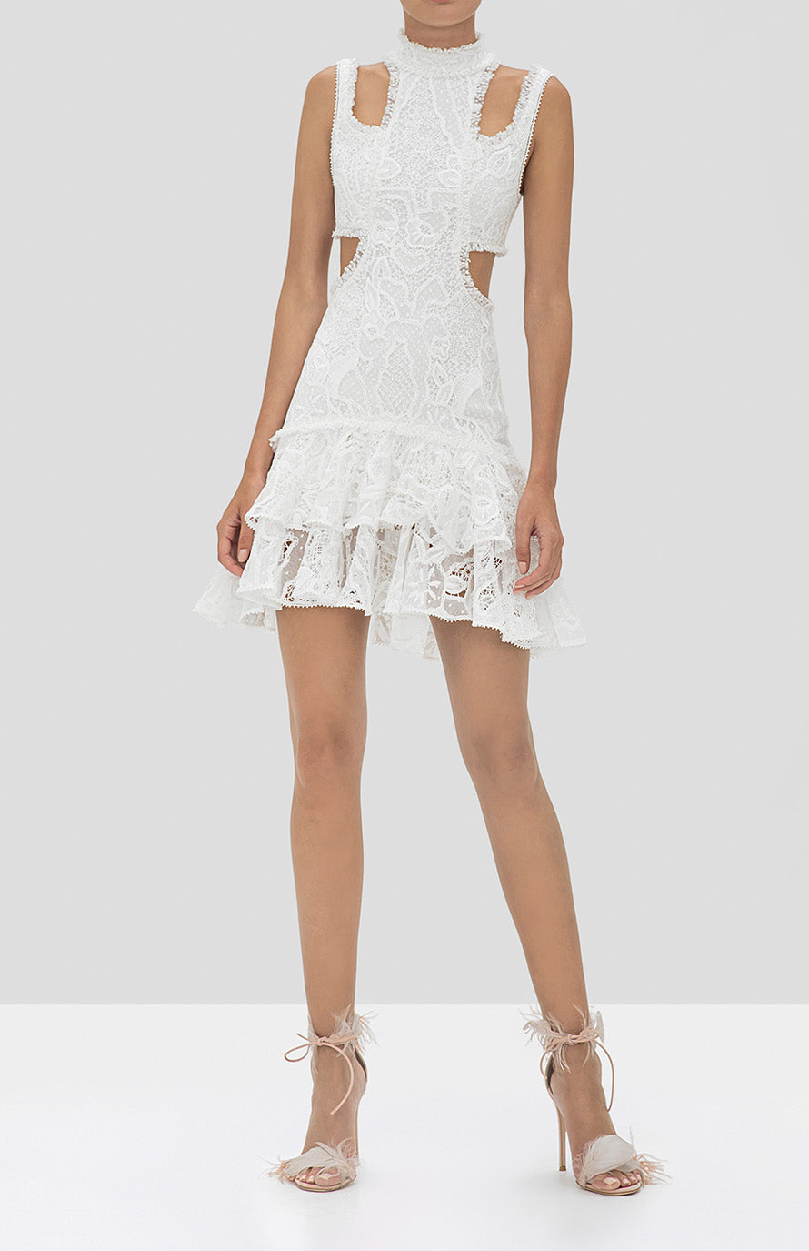 Alexis Kirsi Dress in White from the Holiday 2019 Ready To Wear Collection - Rear View