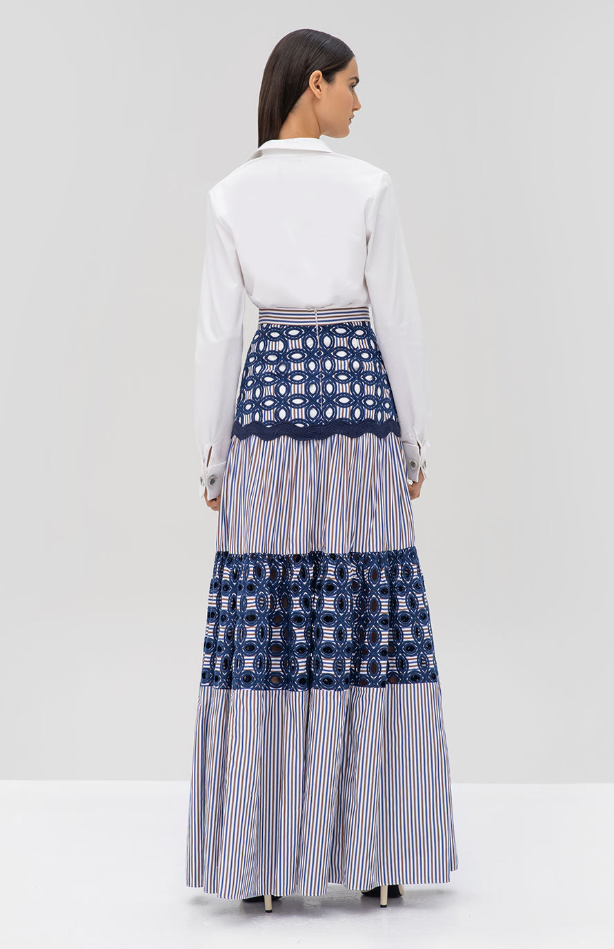 Alexis Roxanne Top in White and Kyndal Skirt in Embroidered Stripes - Rear View