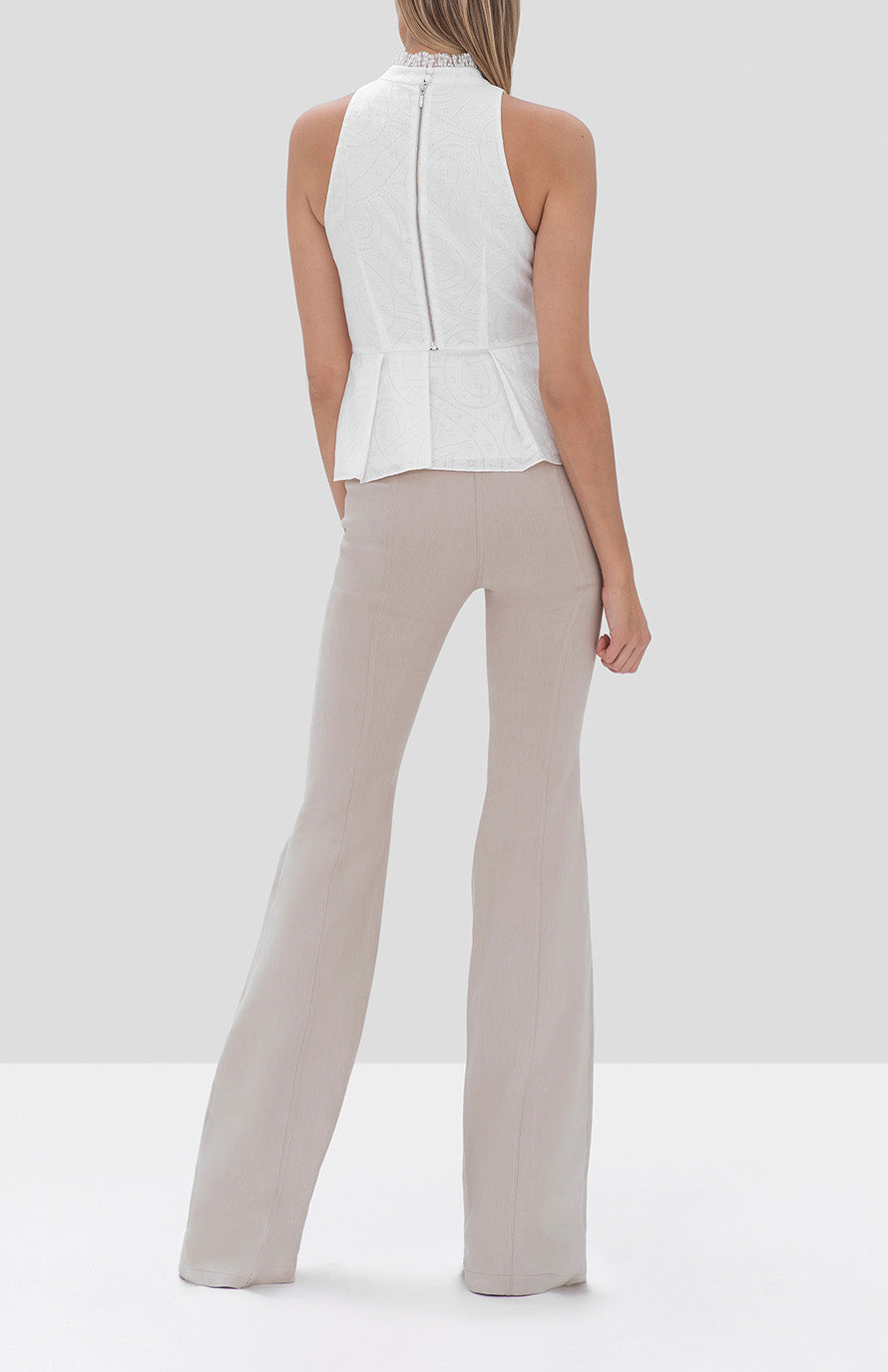 Alexis Helene Pant in Oyster Denim and Leta Top in White from the Fall Winter 2019 Ready To Wear Collection - Rear View