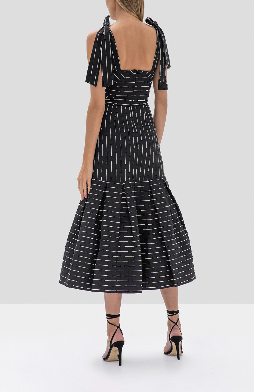 Alexis Leticia Dress in Black Embroidered Stripes - Rear View