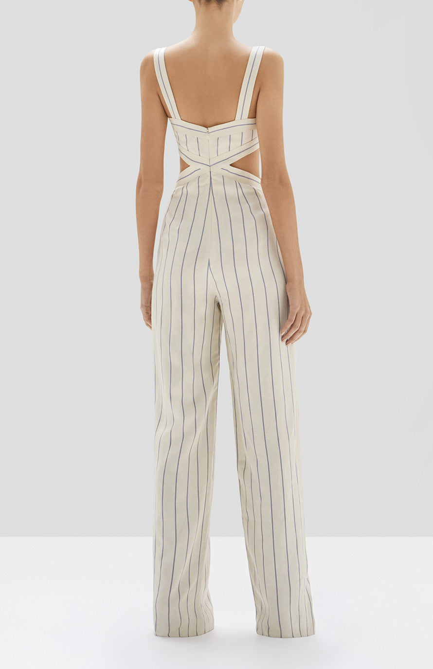 Alexis Lipton Jumpsuit in Blue Stripes from Pre Spring 2020 Collection - Rear View