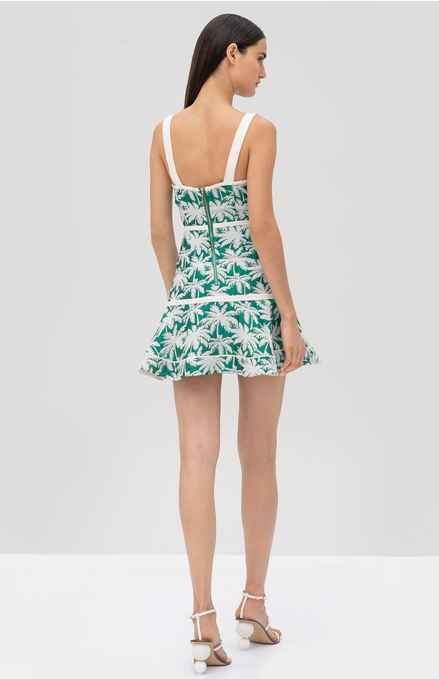 Alexis Lisel Dress in Green Palm Jacquard - Rear View