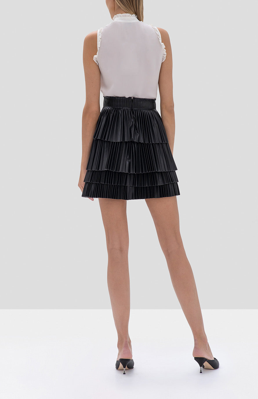 Alexis Lois Top in Off White and Briana Skirt in Black from the Fall Winter 2019 Ready To Wear Collection - Rear View
