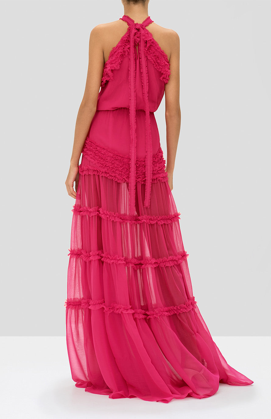 Alexis Lorinda Dress in Azalea Pink from the Holiday 2019 Ready To Wear Collection - Rear View