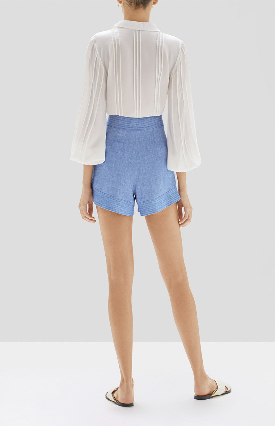 Alexis Lorne Top in White and Garwen Short in Light Blue from Pre Spring 2020 Collection. - Rear View