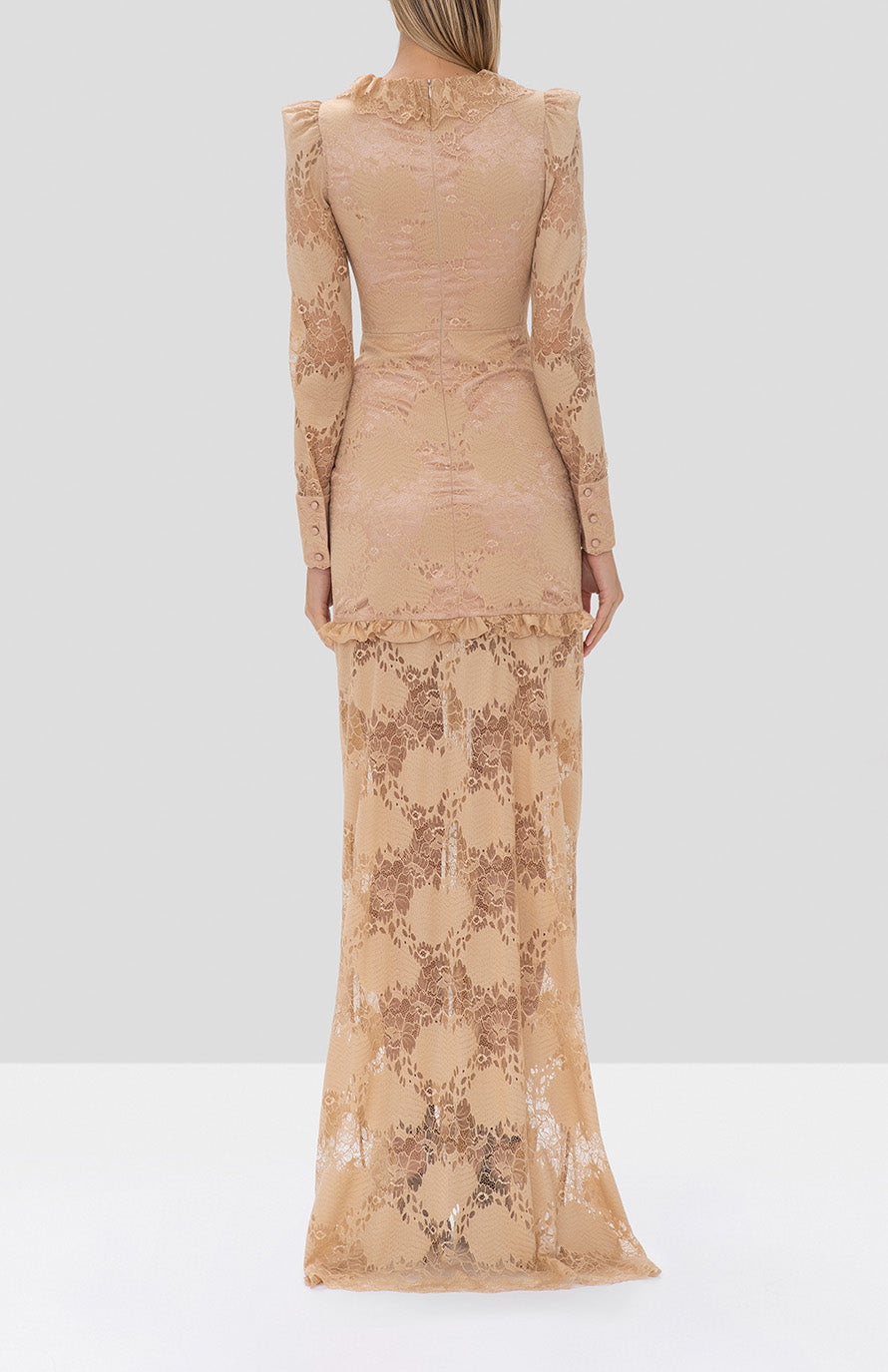 Alexis Lucasta Dress in Sand from the Fall Winter 2019 Ready To Wear Collection  - Rear View