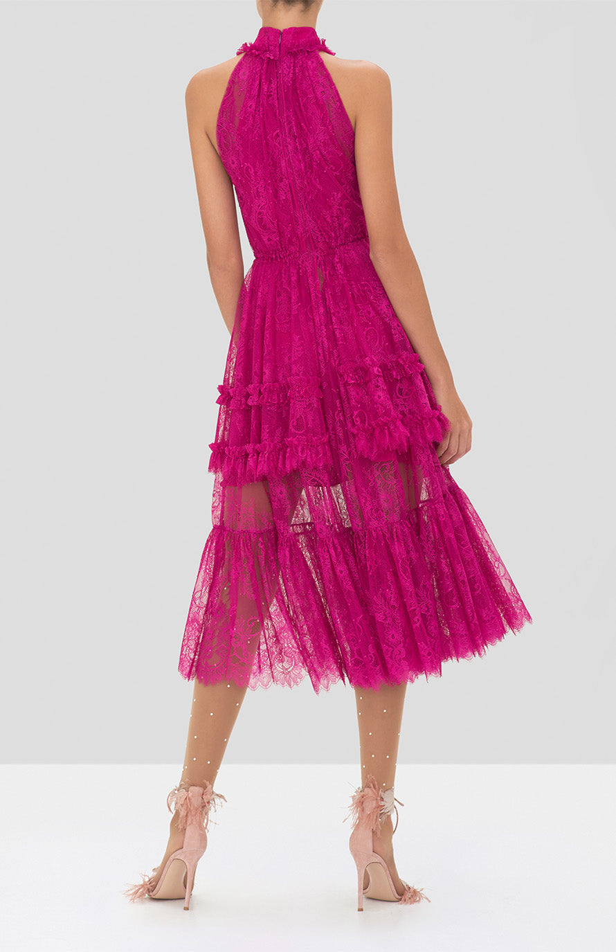 Alexis Magdalina Dress in Fuchsia from the Holiday 2019 Ready To Wear Collection - Rear View