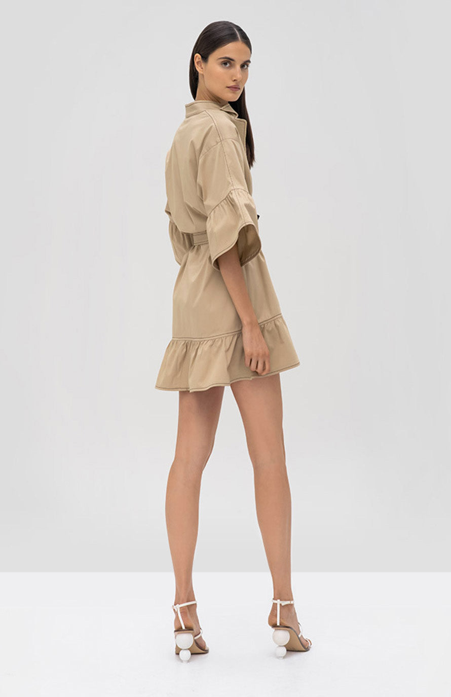 Alexis Mariano Dress in Tan - Rear View