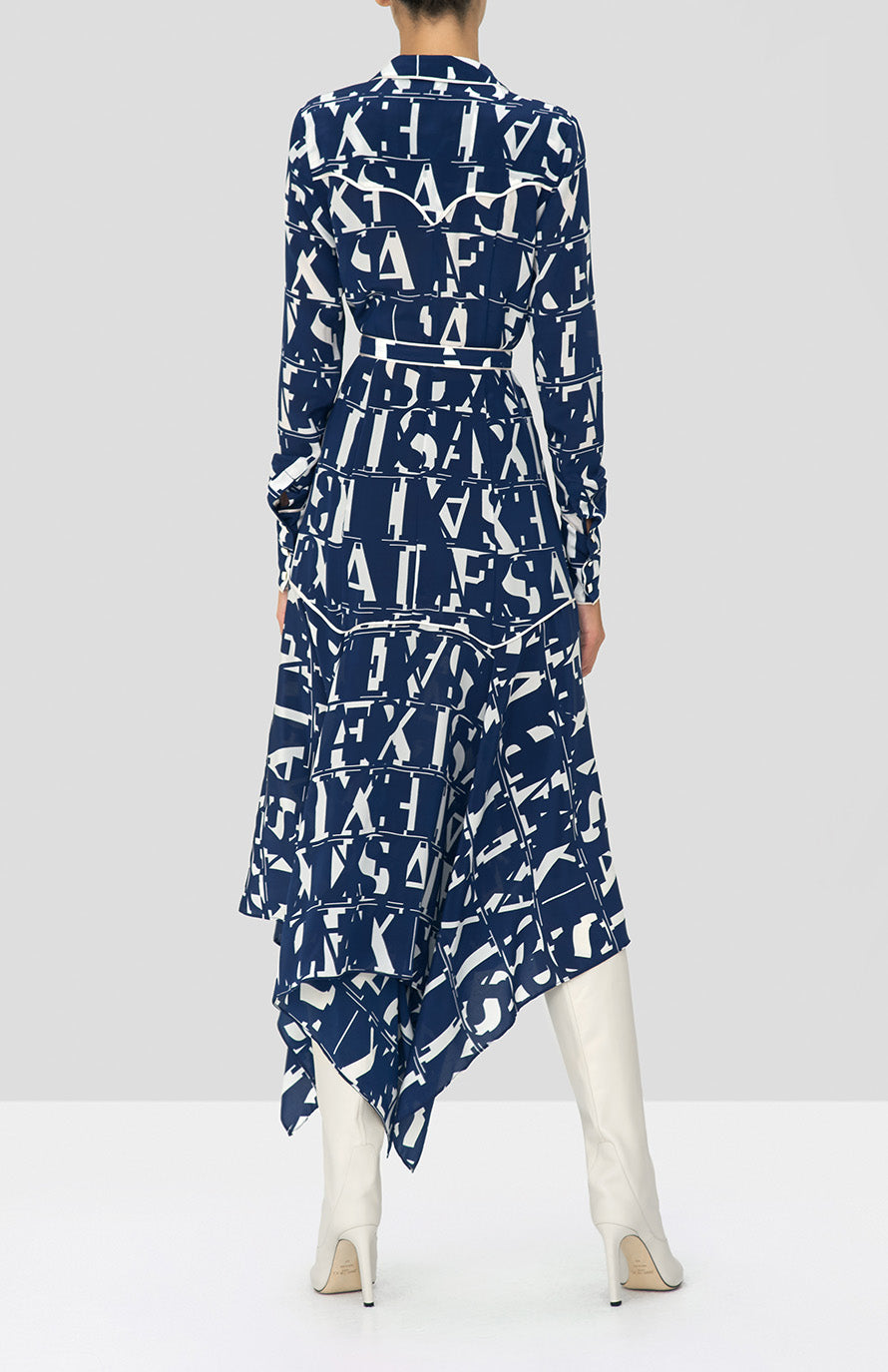 Alexis Marvella Dress in Navy Print from the Holiday 2019 Ready To Wear Collection - Rear View